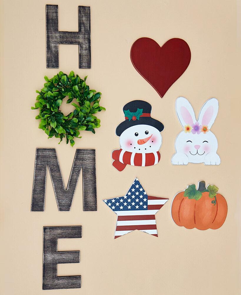 9-Piece Interchangeable Seasonal Halloween Wooden Porch Door HOME Sign