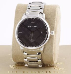 Burberry Men's The Classic Round Black Dial Stainless Steel Watch BU10005 NEW