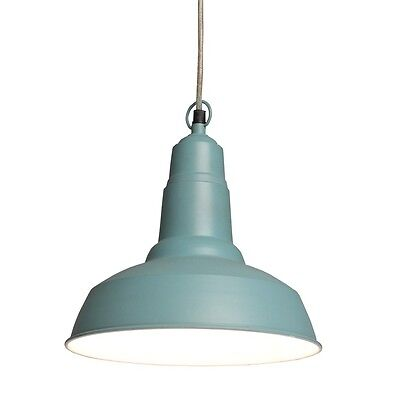 dotcomgiftshop INDUSTRIAL STYLE SMALL UTILITY PENDANT LIGHT CAMEO BLUE