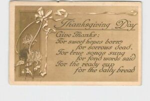 ANTIQUE-POSTCARD-THANKSGIVING-DAY-GIVE-THANKS-POEM-FLOWERS-RIBBON-1914-HAND-CANC