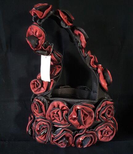 Rote Rose 25x40cm Edle Abendtasche Brauttasche Tasche vollständig mit Rosen