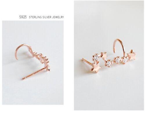 Oro rosa de plata esterlina 925 Brazalete De Oruga Osa Mayor Star oreja Stud pendientes F19