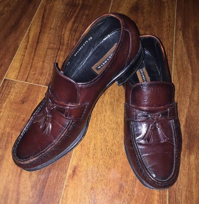 Florsheim Mens Cherry Black Como Leather Loafer Tassel Trendy shoes Size 9.5