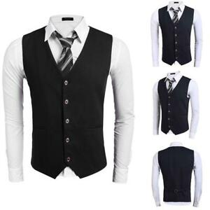 Maenner-Single-Breasted-Button-Down-Solid-Slim-Fit-Laessige-Weste-GRHA