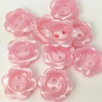 10 pearl effect pastel flower buttons pink cream blue white 8mm 10mm 11mm & 15mm