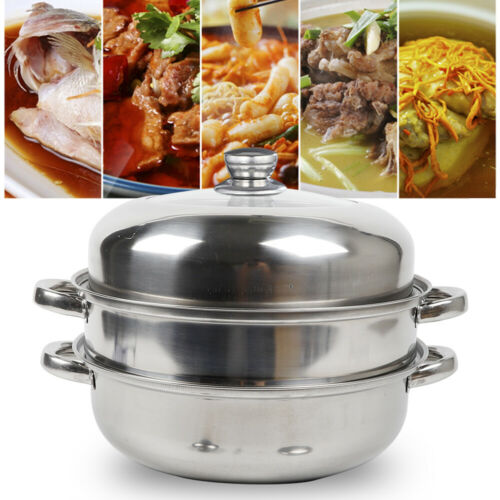 Lid USA STOCK Stainless Steel 2 Tier Steamer Steam Steaming Pot Cookware 28cm