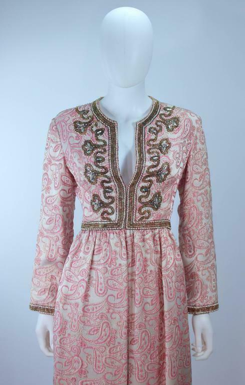 CEIL CHAPMAN 1960s Pink Paisley Brocade Gown with… - image 5