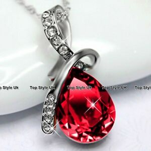 Tear-Diamond-Necklace-Ruby-Pendant-Silver-Jewellery-Presents-for-Her-Women-J206