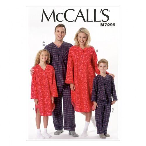 McCalls Family Easy Sewing Pattern 7299 Pyjamas /& Nightshirt McCalls-729...