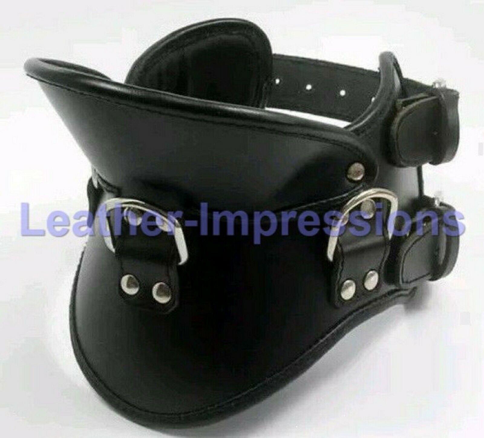 Latigo in pelle Bondage postura collare collare di bloccaggio Slave interesse GRATIS P&P UK