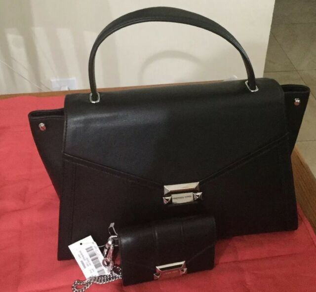 726a863a4bb1ff Michael Kors Whitney Large Leather Satchel Black for sale online | eBay