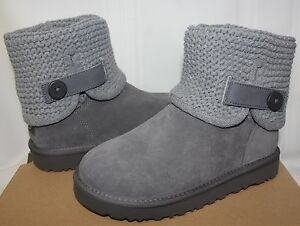 ad28036ec87 Details about UGG Women's Shaina Grey Knit boots NEW 1012534 New With Box!