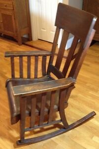 Antique-Heywood-Brothers-amp-Wakefield-Company-Mission-Rocking-Chair-Solid-Oak
