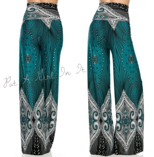"HIGH WAISTED FOLD OVER TURQUOISE /"" IT/'S CHEMICAL/"" PEACOCK PALAZZO PANTS S M L"