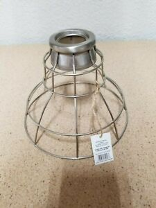 Details About Portfolio 7 In H 9 In W Brushed Nickel Wire Industrial Cage Pendant Light Shade