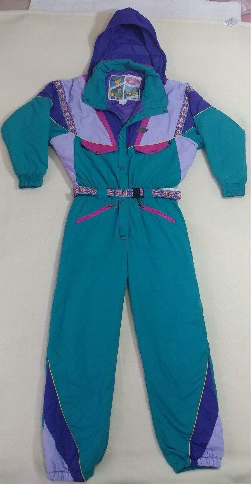 Vintage 90's Style France Ski Suit Rare Grün Snow Suit Nice Größe 39 Us 50 F Top