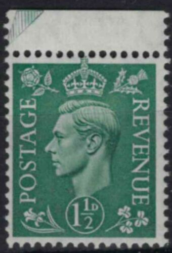 z392) Great Britain. 1950/52. MNH. SG 505 1 1/2d Green. Royalty