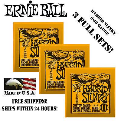3 sets ernie ball hybrid slinky electric guitar strings 2222 ebay. Black Bedroom Furniture Sets. Home Design Ideas