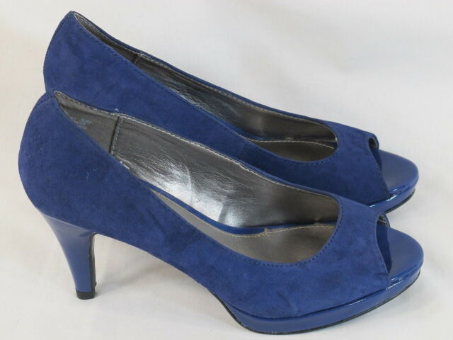 Bandolino Purple Suede Leather Peep Toe High Heel Pumps Size 5.5 M Excellent