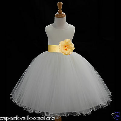 IVORY FLOWER GIRL DRESS PAGEANT T-LENGTH WEDDING 12m 18m 2 3 4 6 6X 8 10 12 829c