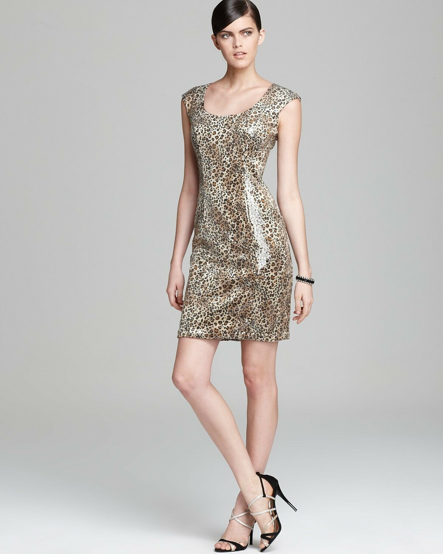 NWT SUE WONG Leopard Print Sequin Cocktail Dress Woherren 8 Ret.