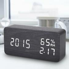 LED Alarm Clock Electronic Voice Control Wooden Temperature Humidity Digital USB