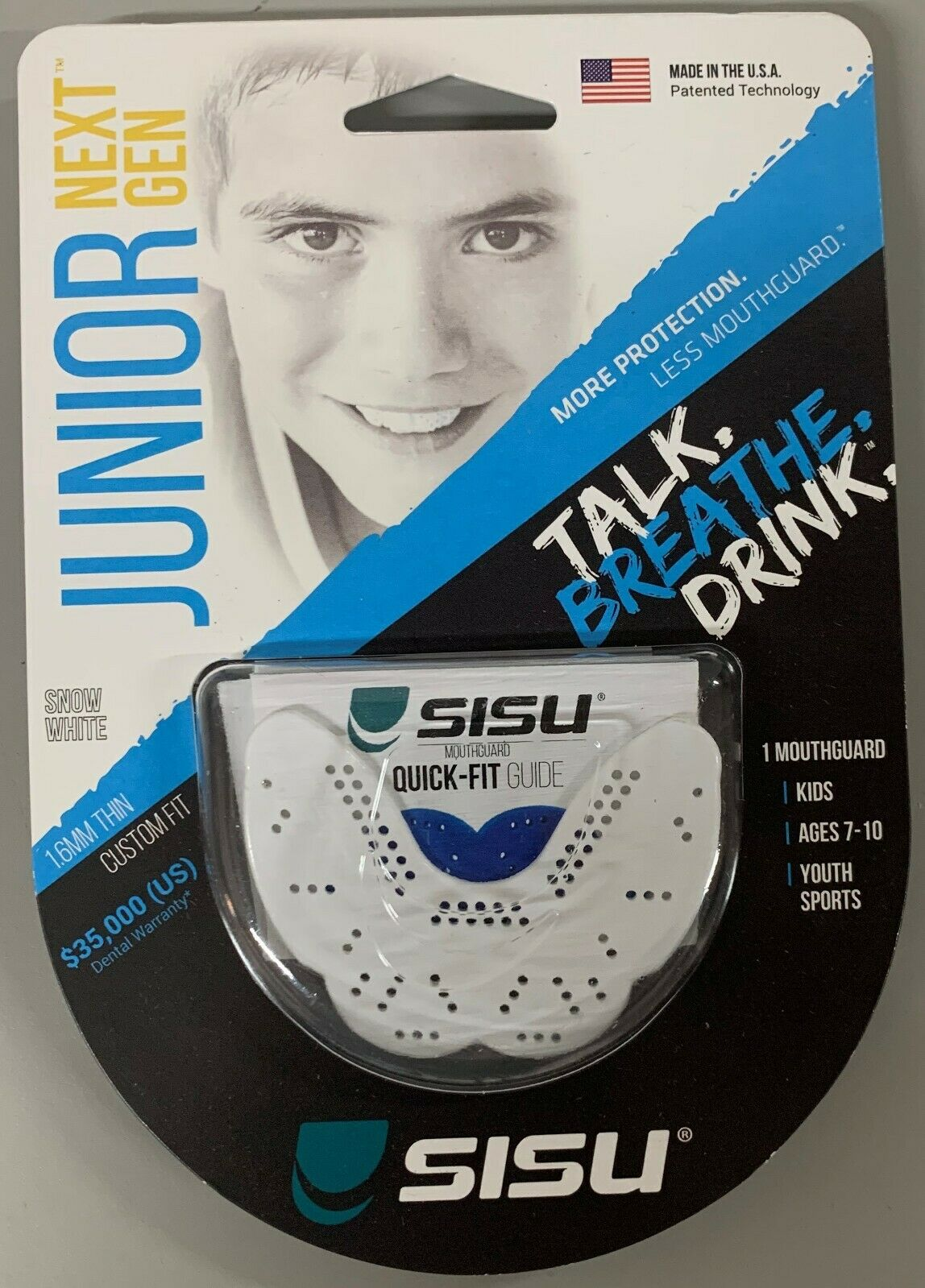 SISU NextGen Junior 1.6mm Youth Mouthguard Snow White