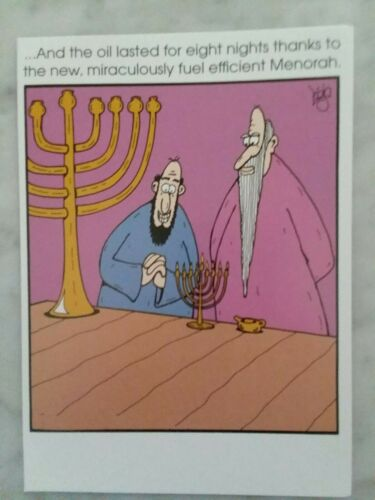 """Funny Hanukkah Card  /""""Efficient Menorah/""""   Recycled Paper Greetings"""