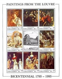 LOUVRE-MUSEUM-GAMBIA-1993-MNH-FRENCH-PAINTINGS-M-S-MUSIC-COSTUMES
