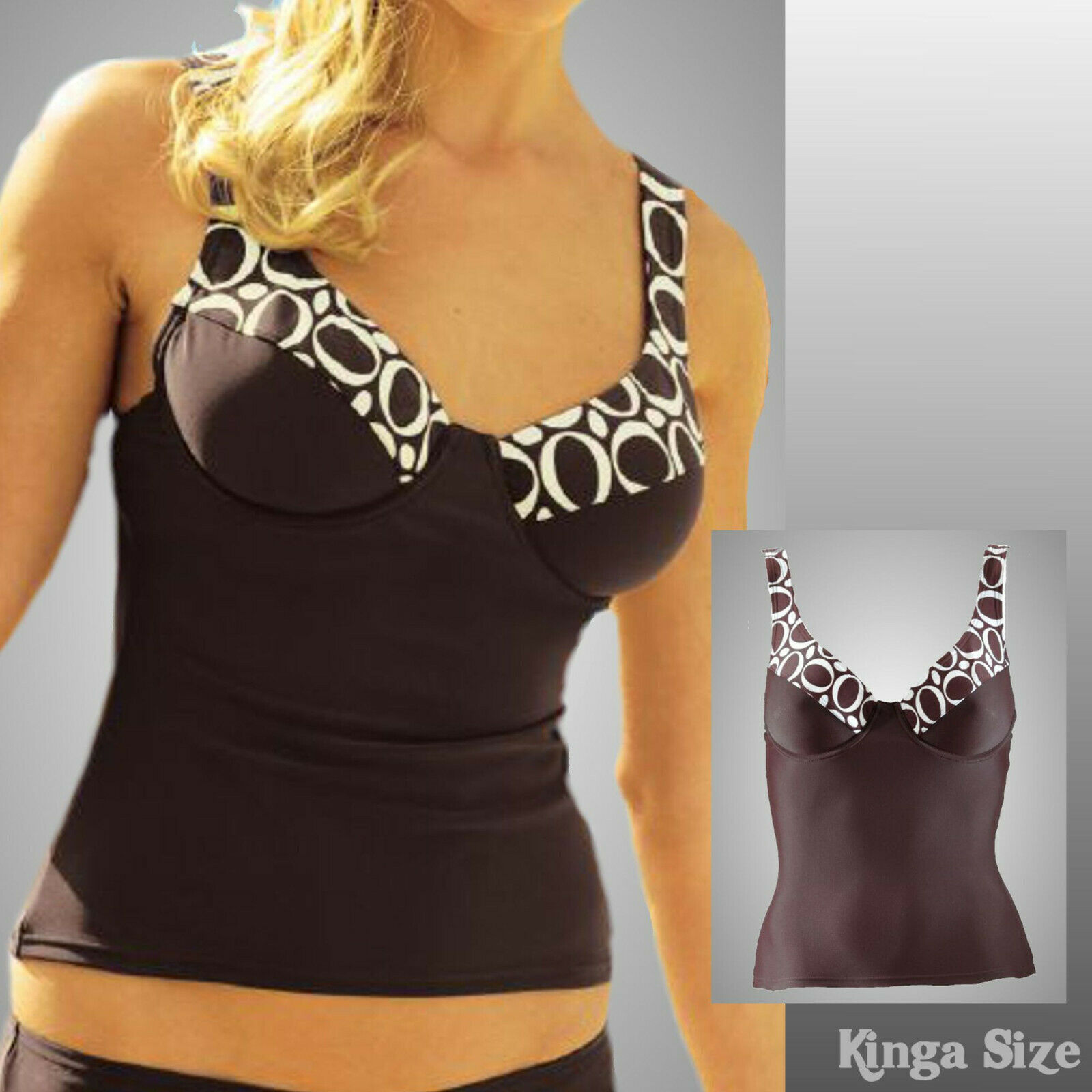 Ladies Summer Swimwear-Tankini Top with Form Underwired Size 40-Brown