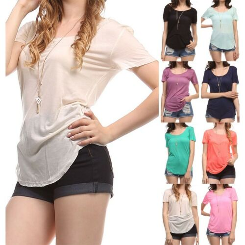 Women/'s Raw Cut Edge Short Sleeve Semi-Sheer T-Shirt Round Neck Rayon S M L