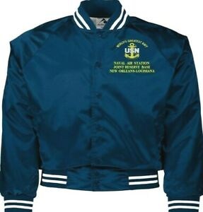 NAVAL AIR STATION JRB NEW ORLEANS LA NAVY EMBROIDERED 2-SIDED SATIN JACKET