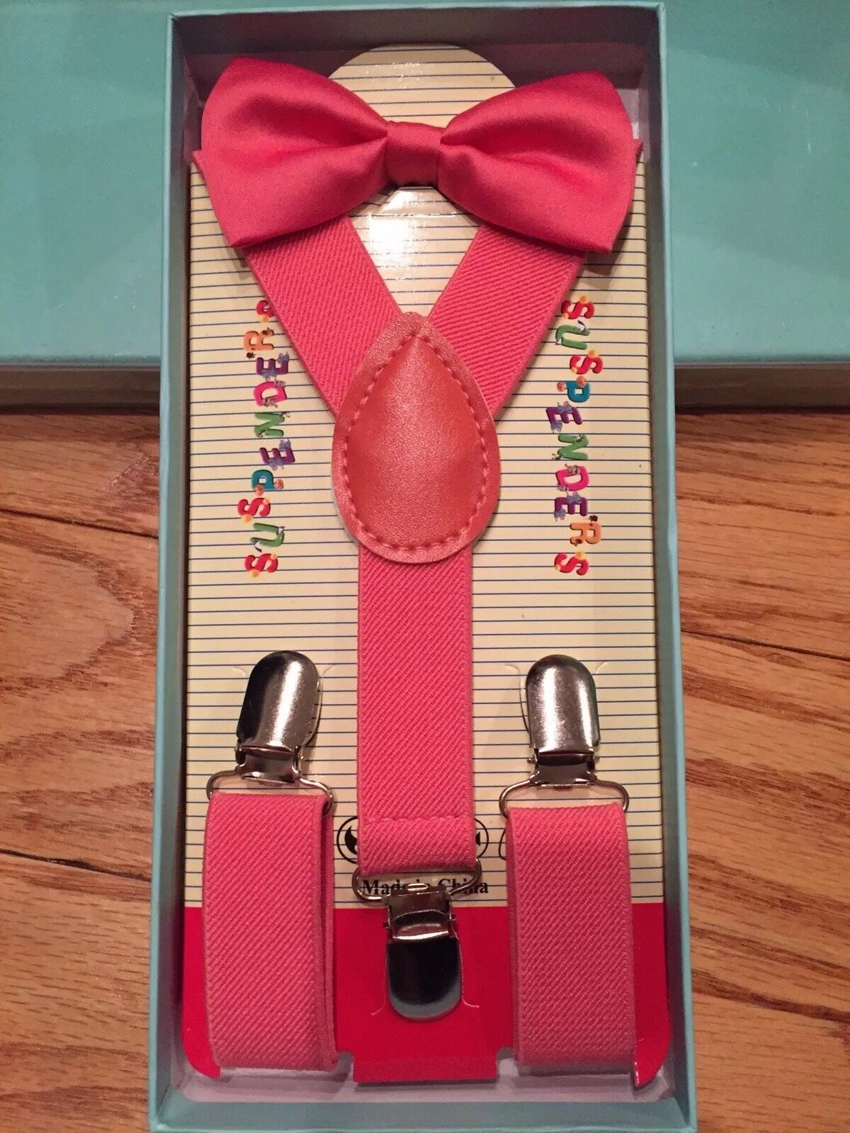 Suspenders and Bow Tie Coral Pink Boxed Gift Set Holiday Toddler Kids Wedding