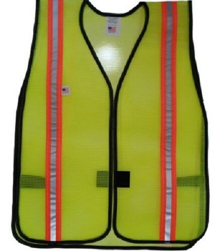 PVC Coated Lime Safety Vest Dual Reflective Orange and Silver Stripes