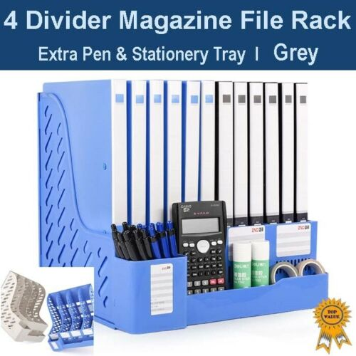 Pen /& Stationery Tray Office Home Organizer 4 Divider Magazine File Rack Grey