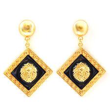 Lion Head Earrings Gold Statement Diamond Studs Celebrity Fashion UK
