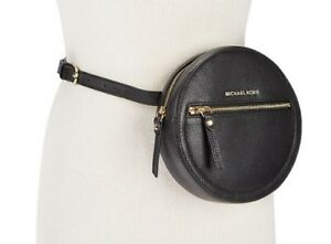 NWT! Michael Kors Belt Bag Fanny Pack Round Black Pebbled Leather ...