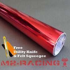 *2'x5' (2ft x 5ft) RED CHROME MIRROR Vinyl Wrap Sticker Decal Sheet Bubble Free