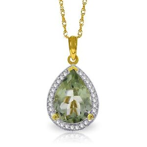 Natural-Green-Amethyst-Pear-Gemstone-amp-Diamonds-Pendant-Necklace-14K-Solid-Gold