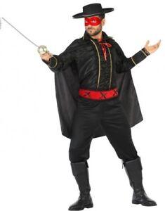 LibéRal Déguisement Homme Zorro Noir M/l Héro Dessin Animé Cinéma Bandit Neuf Pas Cher Rendre Les Choses Pratiques Pour Les Clients