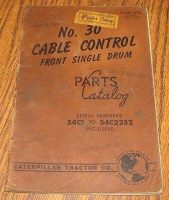 1962 CATERPILLAR 619 630 /& 631 TRACTORS CABLE CONTROL 66F1-UP PARTS BOOK