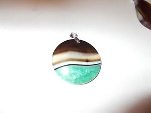Beautiful-Polished-Agate-Healing-Stone-Pendant-amp-925-Silver-Necklace