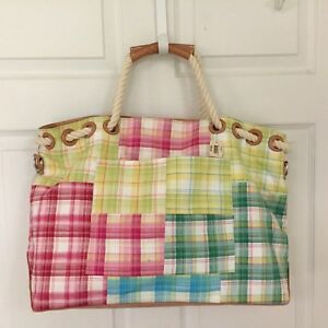 BATH-amp-BODY-Works-BEACHTote-Carry-All-Overnight-Multi-Color-Check-Plaid-11-x-22
