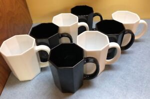 8-Arcopal-Novoctime-White-Glass-Octagon-COFFEE-MUGS-France-Arcoroc-Octime-LOT