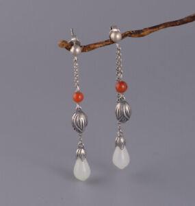 I05-Ohrring-Silber-925-Quasten-mit-Blueten-weisse-Jade-und-roter-Achat