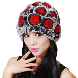 Womens Rex Rabbit Fur Beanies Real Fur Hats Ladies Winter Knitting ... 8aaed738bc3