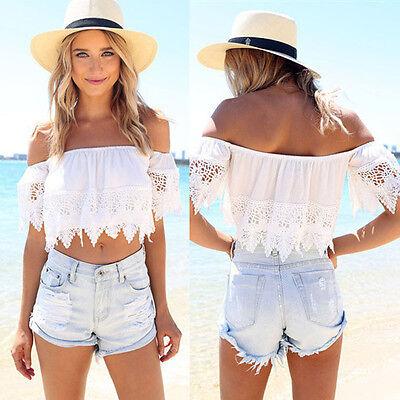 Sexy Fashion Women Boho Lace White Blouse Off Shoulder Crop Shirt Tops Nice