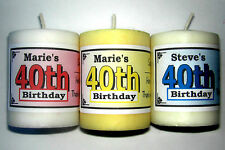 40th BIRTHDAY PARTY FAVORS VOTIVE CANDLE LABELS