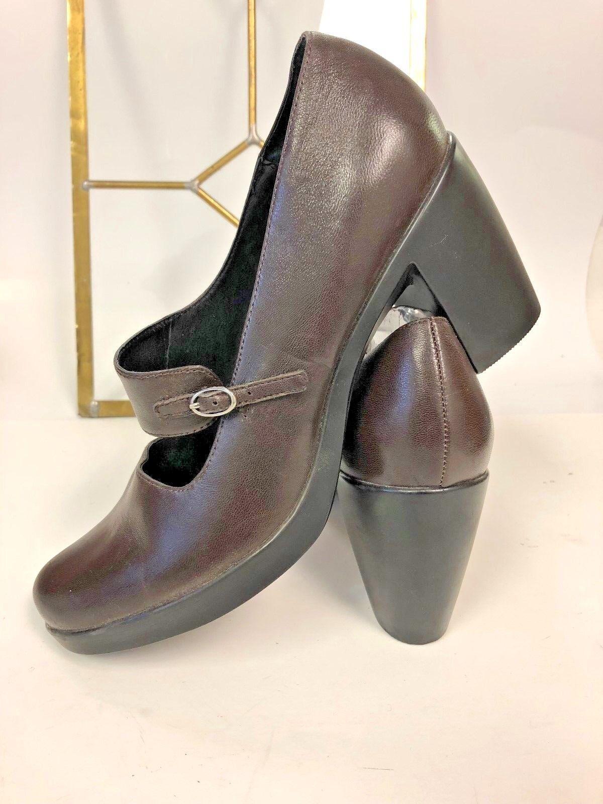 Dansko Womens 41 EU 10.5-11US Brown Leather Mary Janes 3.5  Heels shoes Pumps