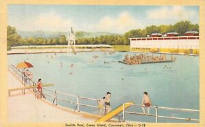 Vintage Sunlite Pool Coney Island, Cincinnati Ohio Linen Postcard 1945